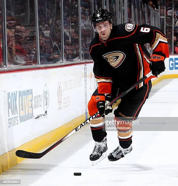 Ben Lovejoy of the Anaheim Ducks handles the puck against the San Jose Sharks on December 22 2014 at Honda Center in Anaheim California
