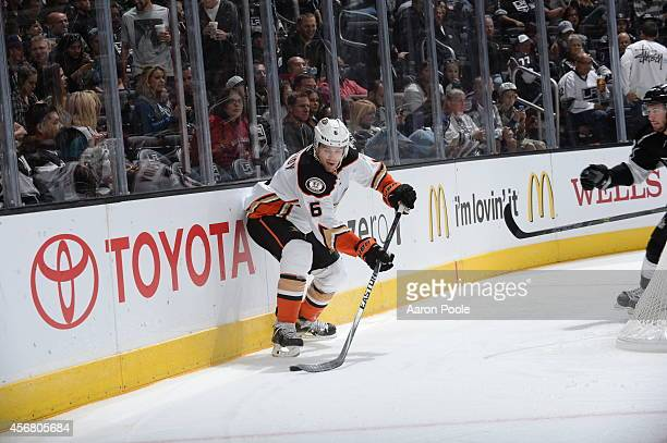 Ben Lovejoy of the Anaheim Ducks handles the puck during a game against the Los Angeles Kings at STAPLES Center on September 25 2014 in Los Angeles...