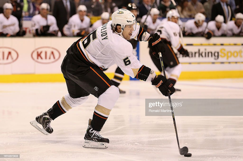 <a gi-track='captionPersonalityLinkClicked' href=/galleries/search?phrase=Ben+Lovejoy&family=editorial&specificpeople=4509565 ng-click='$event.stopPropagation()'>Ben Lovejoy</a> #6 of the Anaheim Ducks skates the puck against the Dallas Stars at American Airlines Center on February 8, 2013 in Dallas, Texas.