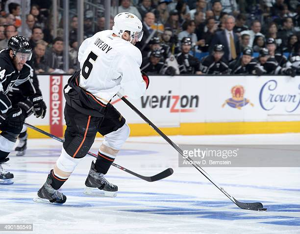 Ben Lovejoy of the Anaheim Ducks skates with the puck against the Los Angeles Kings in Game Three of the Second Round of the 2014 Stanley Cup...