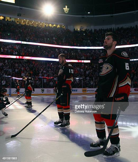 Ben Lovejoy of the Anaheim Ducks stands during the national anthem before the game against the Los Angeles Kings in Game Seven of the Second Round of...
