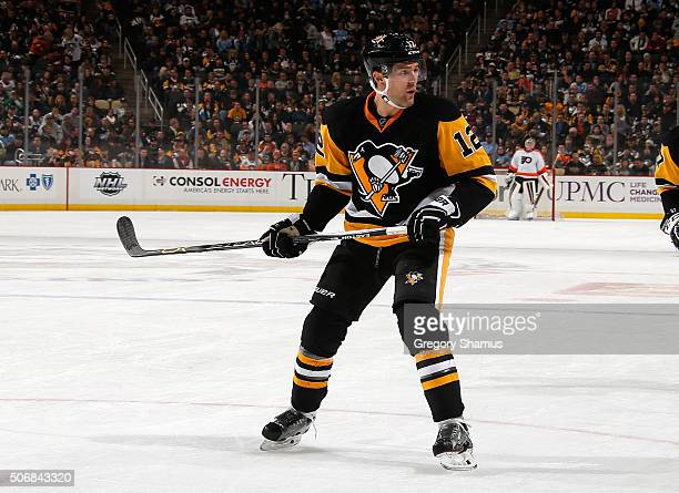 Ben Lovejoy of the Pittsburgh Penguins skates against the Philadelphia Flyers at Consol Energy Center on January 21 2016 in Pittsburgh Pennsylvania