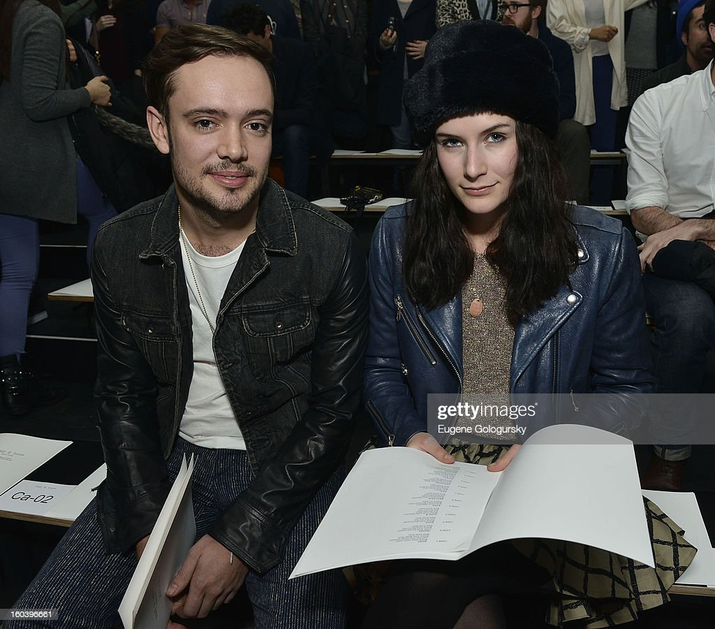 Ben Lovett and Jemima Janney attend the Rag & Bone Men's collection fall 2013 fashion show on January 30, 2013 in New York City.
