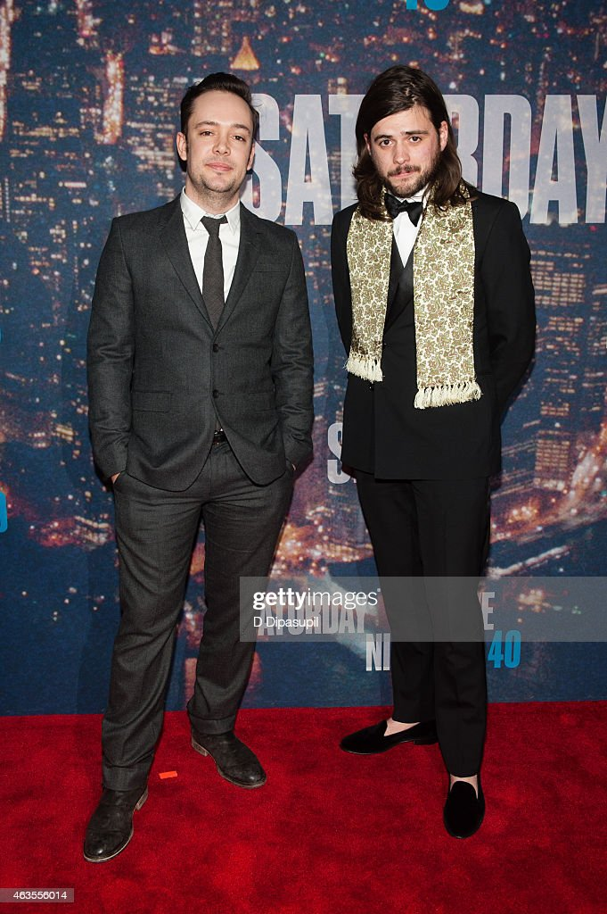 Ben Lovett and Winston Marshall of Mumford Sons attend the SNL 40th Anniversary Celebration at Rockefeller Plaza on February 15 2015 in New York City
