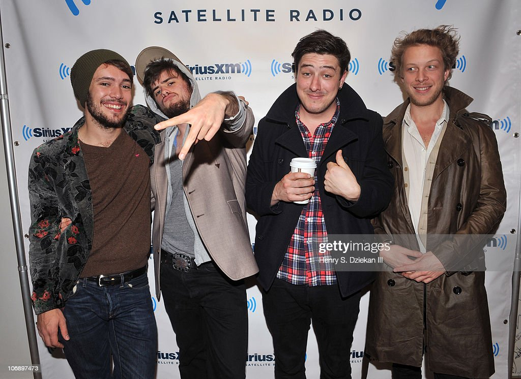 Ben Lovett, 'Country' Winston Marshall, <a gi-track='captionPersonalityLinkClicked' href=/galleries/search?phrase=Marcus+Mumford&family=editorial&specificpeople=5385533 ng-click='$event.stopPropagation()'>Marcus Mumford</a> and Ted Dwane of Mumford & Sons visit SIRIUS XM Studio on November 15, 2010 in New York City.