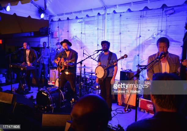 Ben Lovett Marcus Mumford Winston Marshall and Ted Dwane of Mumford and Sons perform live at Soho House New York's 10th Birthday Celebration on...