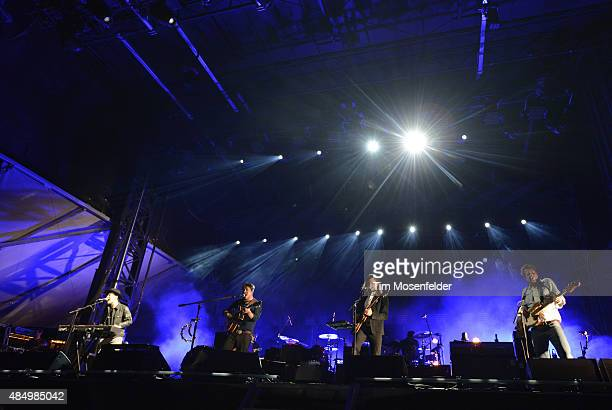 Ben Lovett Marcus Mumford Winston Marshall and Ted Dwane of Mumford Sons perform during the Gentlemen of the Road Stopover on August 22 2015 in...
