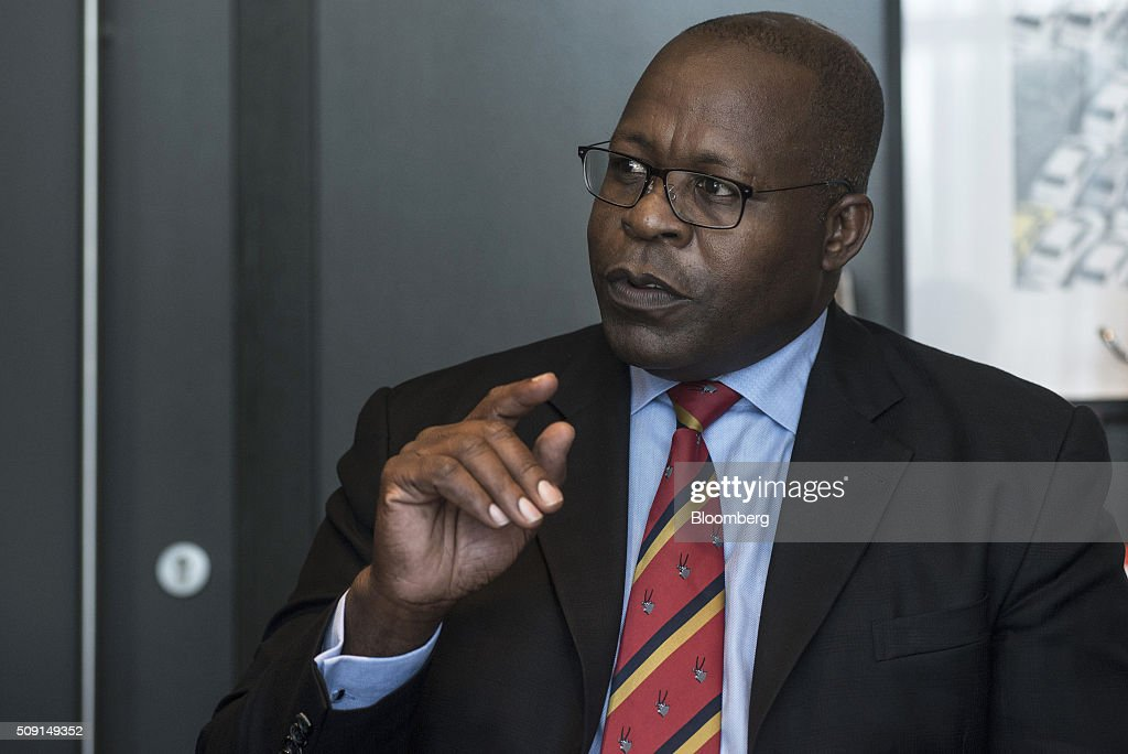 Ben Magara, chief executive officer of Lonmin Plc, gestures whilst speaking during an interview on the second day of the Investing in African Mining Indaba in Cape Town, South Africa, on Tuesday, Feb. 9, 2016. With many miners battling to stay afloat, fewer are willing to shell out 1,140 pounds ($1,641) for the Investing in African Mining Indaba conference in South Africa and business-class airfare. Photographer: Waldo Swiegers/Bloomberg via Getty Images
