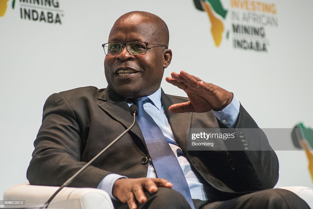 Ben Magara, chief executive officer of Lonmin Plc, gestures whilst speaking on the opening day of the Investing in African Mining Indaba in Cape Town, South Africa, on Monday, Feb. 8, 2016. With many miners battling to stay afloat, fewer are willing to shell out 1,140 pounds ($1,641) for the Investing in African Mining Indaba conference in South Africa and business-class airfare. Photographer: Waldo Swiegers/Bloomberg via Getty Images