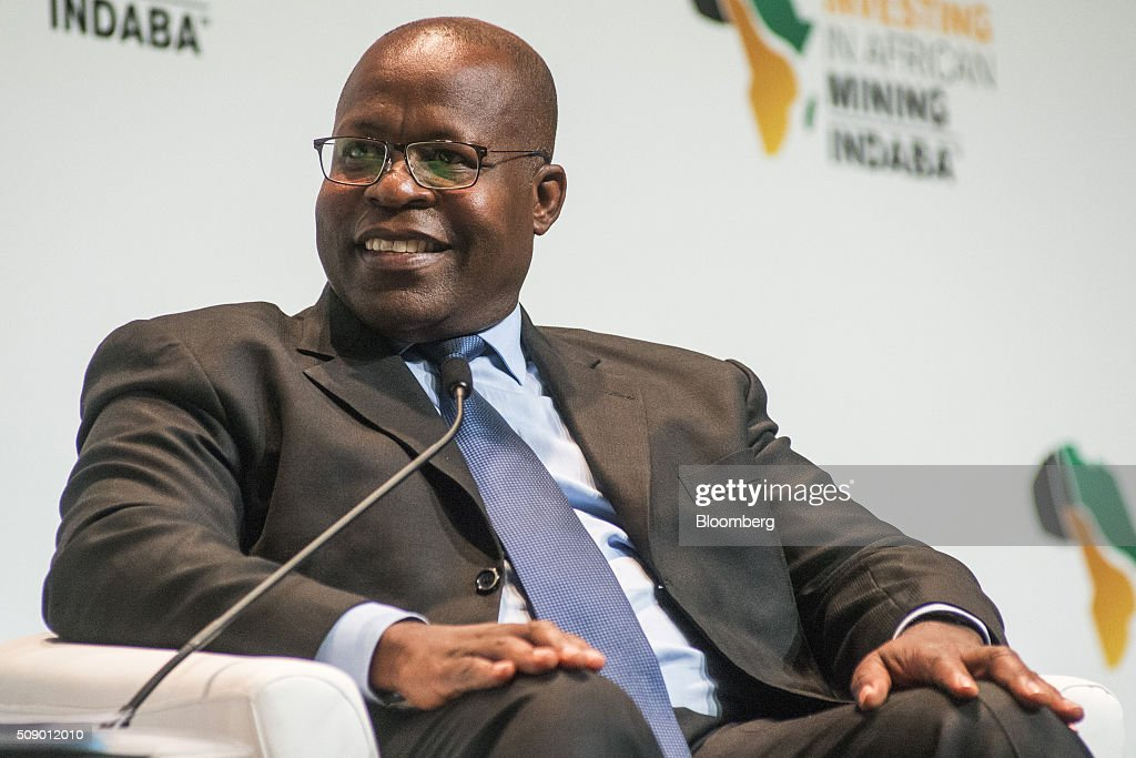Ben Magara, chief executive officer of Lonmin Plc, reacts whilst speaking on the opening day of the Investing in African Mining Indaba in Cape Town, South Africa, on Monday, Feb. 8, 2016. With many miners battling to stay afloat, fewer are willing to shell out 1,140 pounds ($1,641) for the Investing in African Mining Indaba conference in South Africa and business-class airfare. Photographer: Waldo Swiegers/Bloomberg via Getty Images