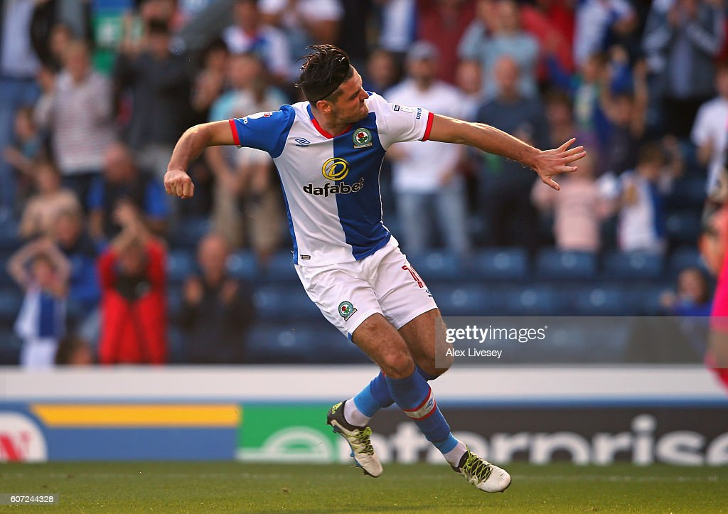 Ben Marshall of Blackburn Rovers celebrates after scoring their third goal during the Sky Bet Championship match between Blackburn Rovers and Rotherham United at Ewood Park on September 17, 2016 in Blackburn, England.