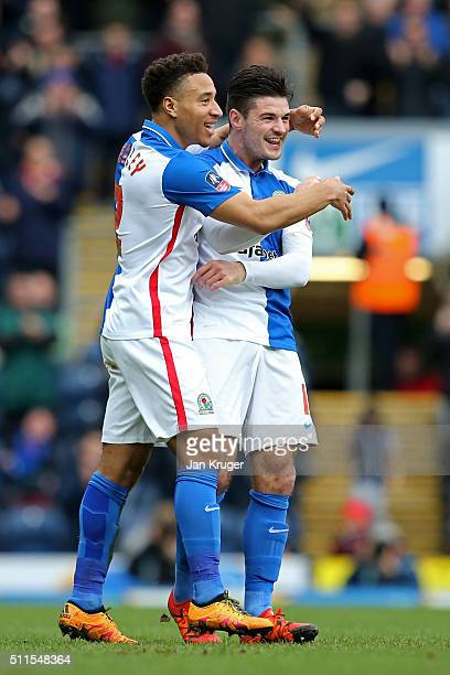 Ben Marshall of Blackburn Rovers is congratulated by teammate Adam Henley of Blackburn Rovers after scoring the opening goal during The Emirates FA...