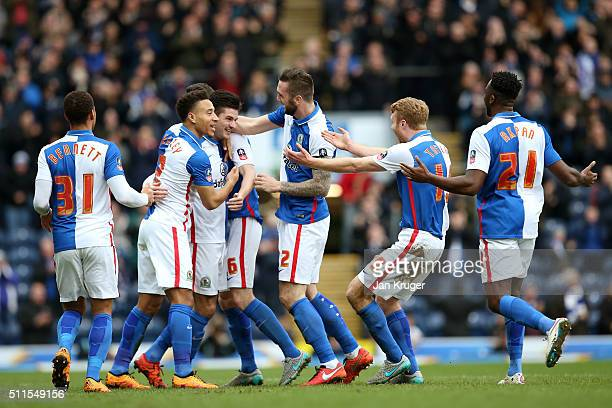 Ben Marshall of Blackburn Rovers is congratulated by teammates after scoring the opening goal during The Emirates FA Cup fifth round match between...
