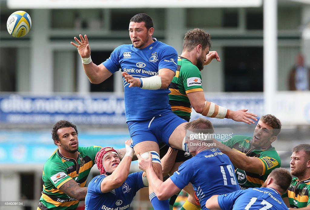 Ben Marshall of Leinster catches the ball during the pre season friendly match between Northampton Saints and Leinster at Franklin's Gardens on August 23, 2014 in Northampton, England.