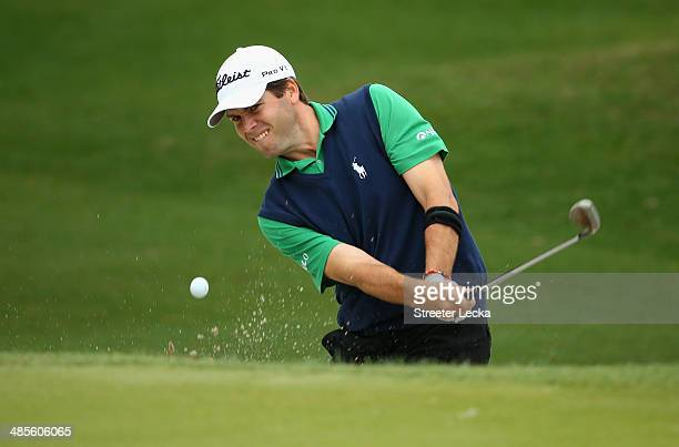 Ben Martin plays a shot out of the bunker on the 9th hole during a continuation of the second round of the RBC Heritage at Harbour Town Golf Links on...