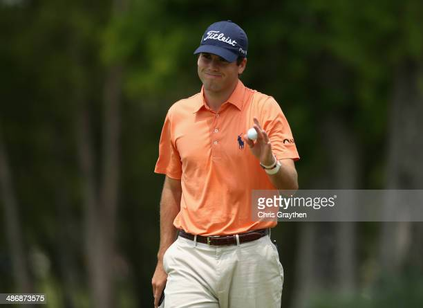 Ben Martin reacts to a putt on the 6th during Round Three of the Zurich Classic of New Orleans at TPC Louisiana on April 26 2014 in Avondale Louisiana