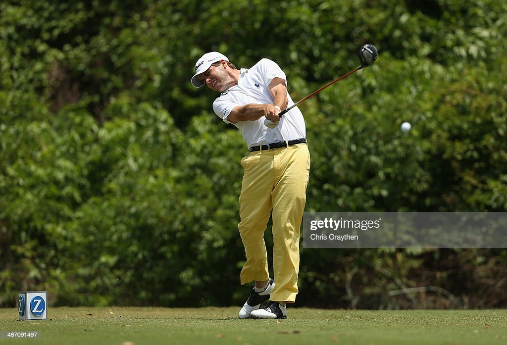 Ben Martin tees off on the 2nd during the Final Round of the Zurich Classic of New Orleans at TPC Louisiana on April 27 2014 in Avondale Louisiana