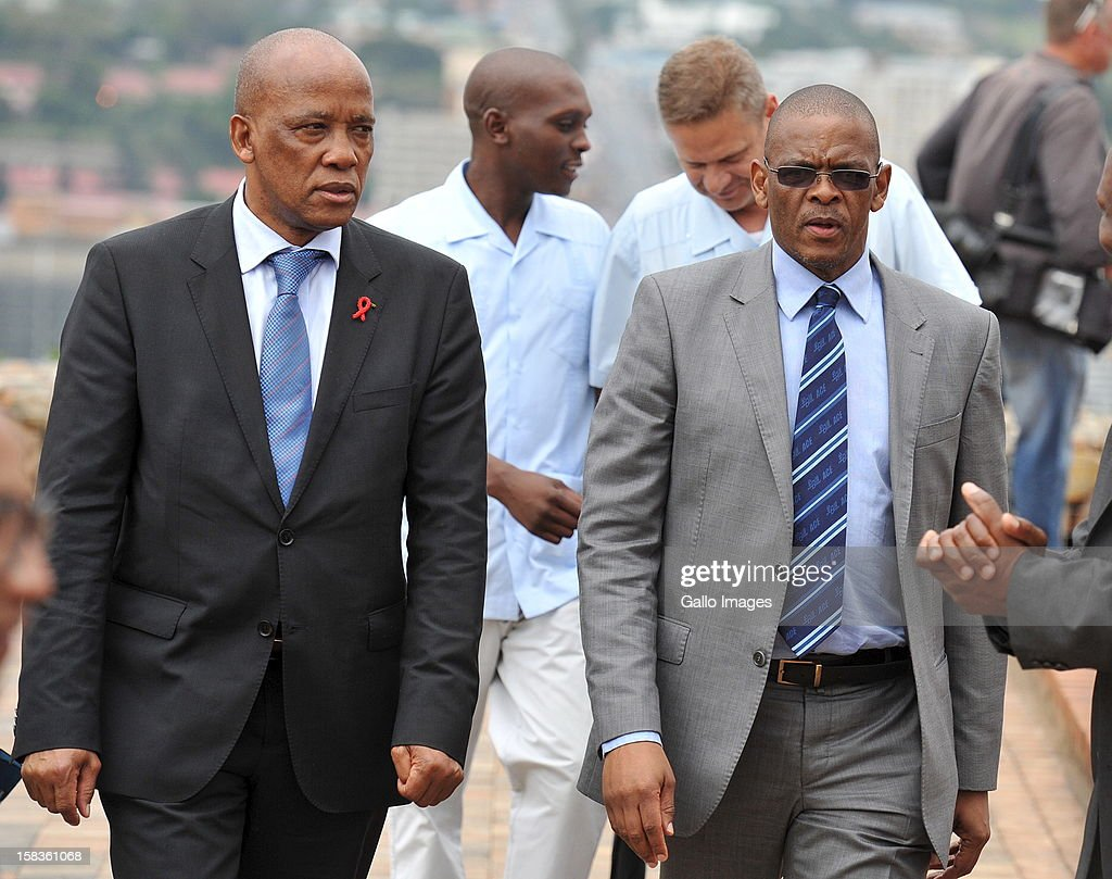 Ben Martins, minister of transport and Ace Magashule at Naval Hill on December 13, 2012, in Bloemfontein, South Africa.