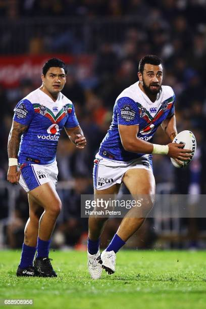 Ben Matulino of the Warriors charges forward during the round 12 NRL match between the New Zealand Warriors and the Brisbane Broncos at Mt Smart...