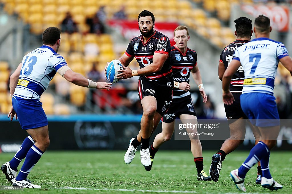 Ben Matulino of the Warriors in action during the round nine NSW Intrust Super Cup Premiership match between the New Zealand Warriors and the Canterbury Bankstown Bulldogs at Mt Smart Stadium on May 1, 2016 in Auckland, New Zealand.