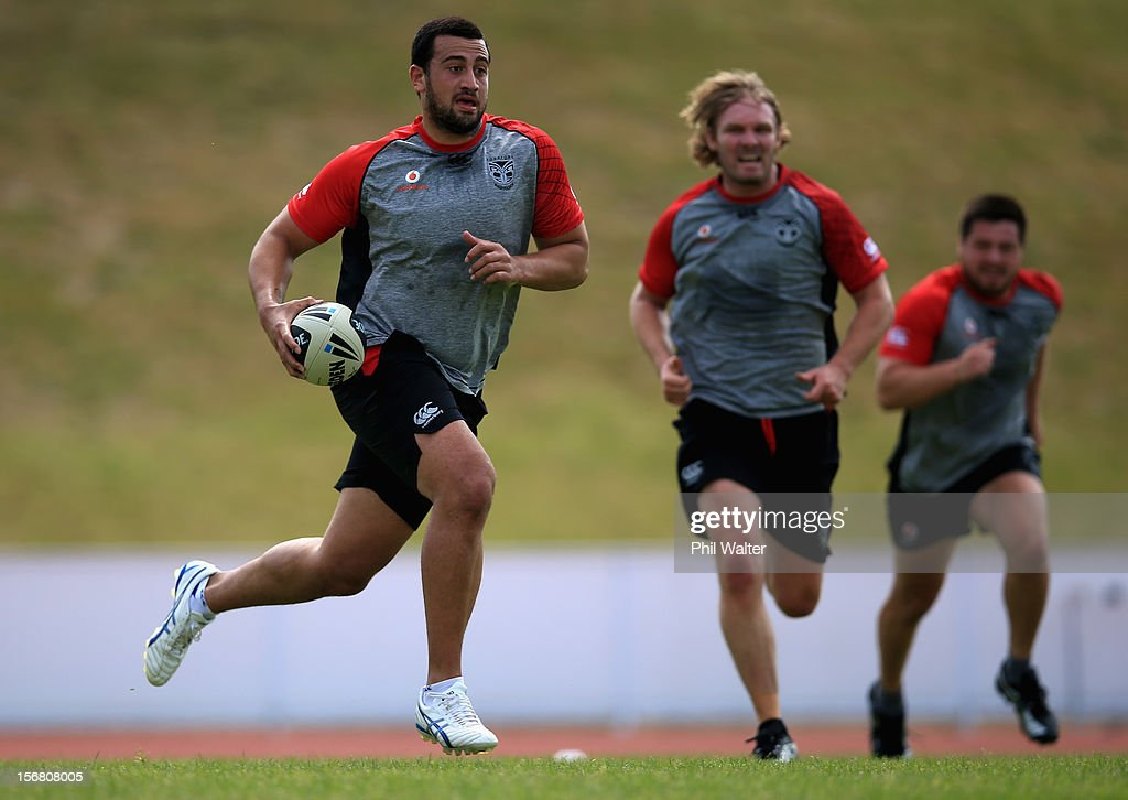 Ben Matulino of the Warriors runs the ball during a New Zealand Warriors NRL pre-season training session at the Millenium Institute on November 22, 2012 in Auckland, New Zealand.