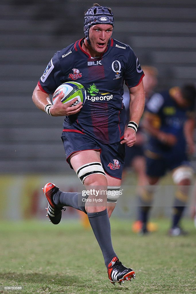 Ben Matwijow of the Reds makes a break during the Super Rugby Pre-Season match between the Reds and the Brumbies at Ballymore Stadium on February 12, 2016 in Brisbane, Australia.