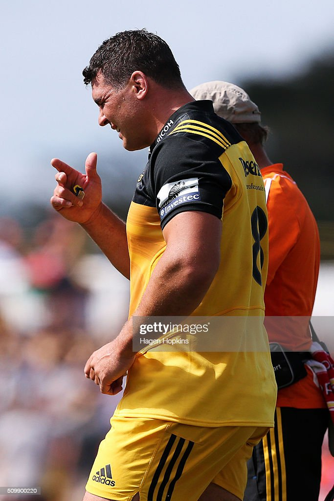 Ben May of the Hurricanes leaves the field with an injury during the Super Rugby pre-season match between the Blues and the Hurricanes at Eketahuna Rugby Club on February 13, 2016 in Eketahuna, New Zealand.