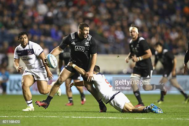Ben May of the Maori All Blacks is tackled during the Intenational Rugby Match between the USA Eagles and the New Zealand Maori All Blacks at Toyota...