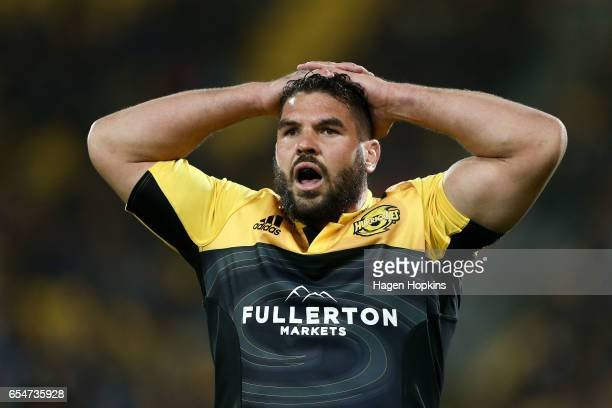 Ben May takes a breather while playing his 50th game for the Hurricanes during the round four Super Rugby match between the Hurricanes and the...