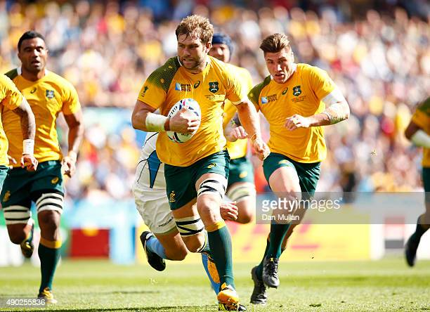 Ben McCalman of Australia runs in to score their fifth try during the 2015 Rugby World Cup Pool A match between Australia and Uruguay at Villa Park...