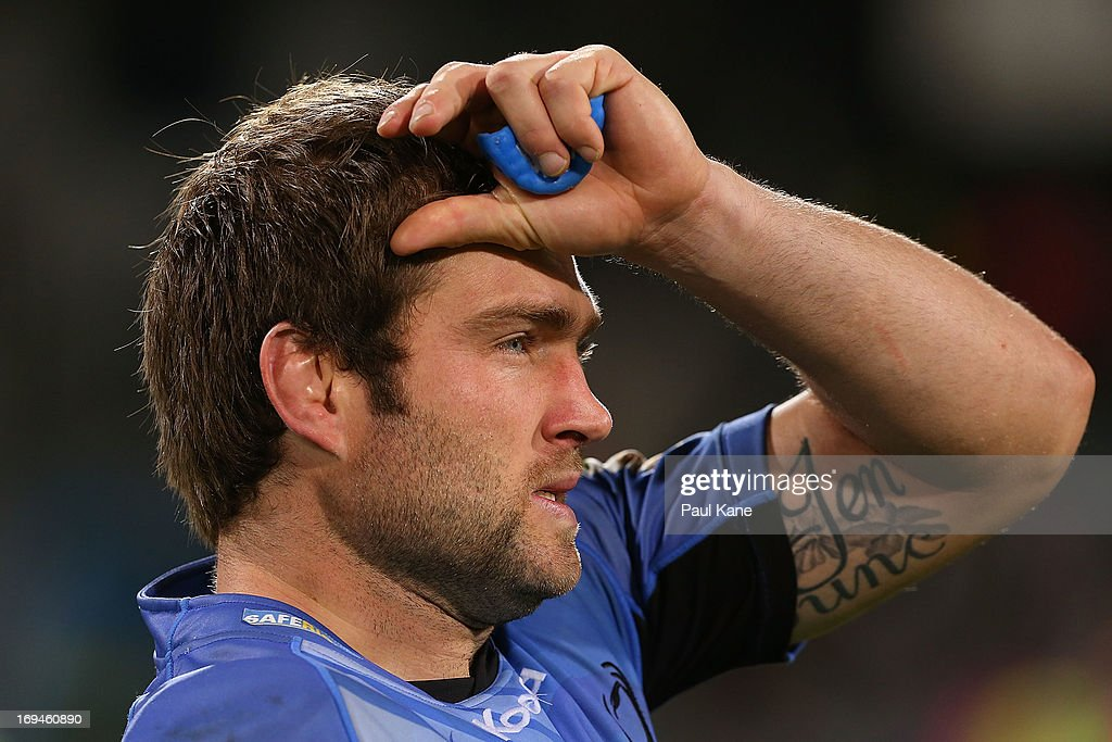 Ben McCalman of the Force looks on after winning the round 15 Super Rugby match between the Western Force and the Highlanders at nib Stadium on May 25, 2013 in Perth, Australia.