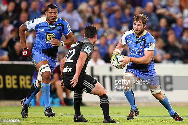 Ben McCalman of the Force runs the ball during the round seven Super Rugby match between the Force and the Crusaders at nib Stadium on April 8 2016...