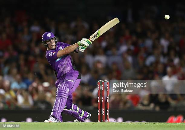 Ben McDermott of the Hurricanes hits a boundary as he bats during the Big Bash League match between the Melbourne Renegades and the Hobart Hurricanes...