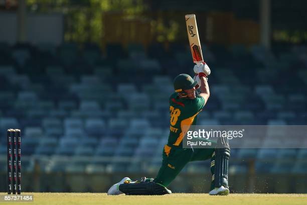 Ben McDermott of the Tigers bats during the JLT One Day Cup match between Victoria and Tasmania at WACA on October 4 2017 in Perth Australia