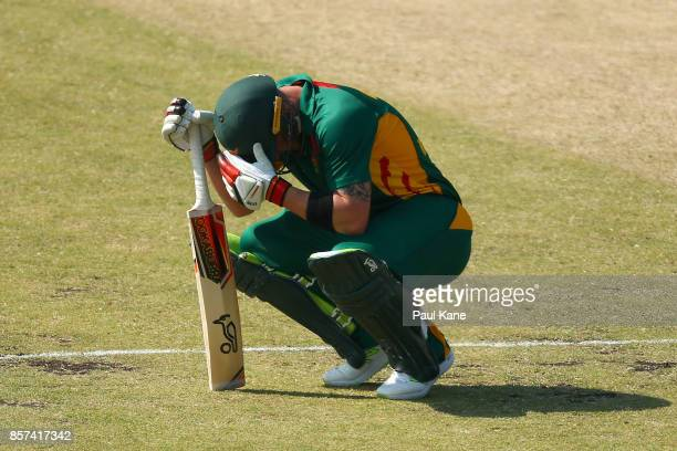 Ben McDermott of the Tigers takes a moment after being struck by a delivery during the JLT One Day Cup match between Victoria and Tasmania at WACA on...