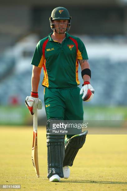 Ben McDermott of the Tigers walks from the field after being dismissed during the JLT One Day Cup match between Victoria and Tasmania at WACA on...
