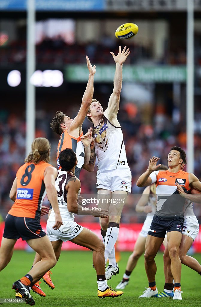 Ben McEvoy of the Hawks attacks the ball during the round six AFL match between the Greater Western Sydney Giants and the Hawthorn Hawks at Spotless Stadium on April 30, 2016 in Sydney, Australia.
