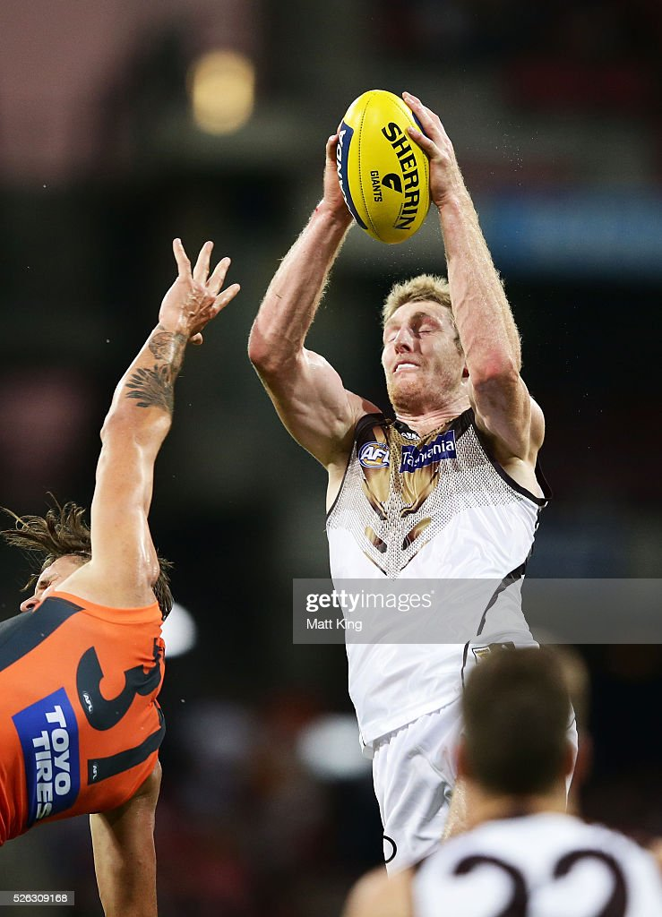 Ben McEvoy of the Hawks takes a mark during the round six AFL match between the Greater Western Sydney Giants and the Hawthorn Hawks at Spotless Stadium on April 30, 2016 in Sydney, Australia.