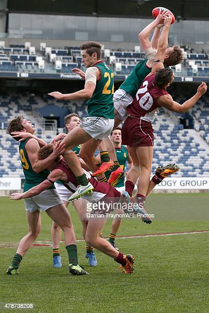 Ben McGuinness of Tasmania marks the ball during the U18 Championships match between Tasmania and Queensland at Simonds Stadium on June 27 2015 in...