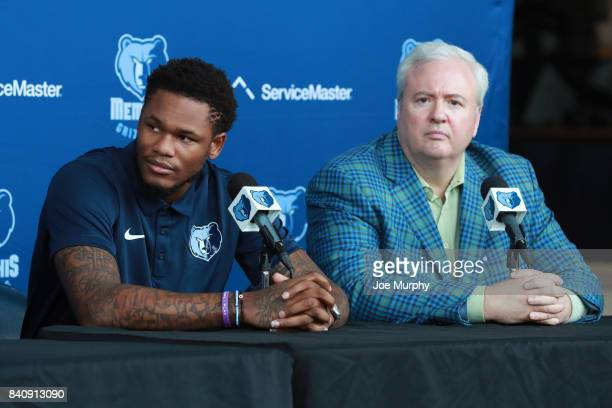 Ben McLemore and Chris Wallace of the Memphis Grizzlies speak to the media during a press conference on August 29 2017 at FedExForum in Memphis...
