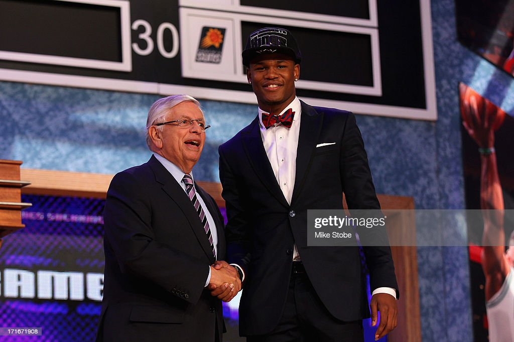 Ben McLemore (R) of Kansas poses for a photo with NBA Commissioner David Stern after McLemore was drafted #7 overall in the first round by the Sacramento Kings during the 2013 NBA Draft at Barclays Center on June 27, 2013 in in the Brooklyn Bourough of New York City.