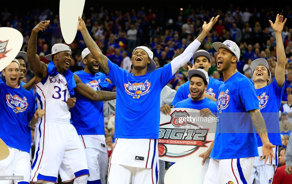 Ben McLemore of the Kansas Jayhawks and team celebrate their 7054 win over Kansas State Wildcats during the Final of the Big 12 basketball tournament...