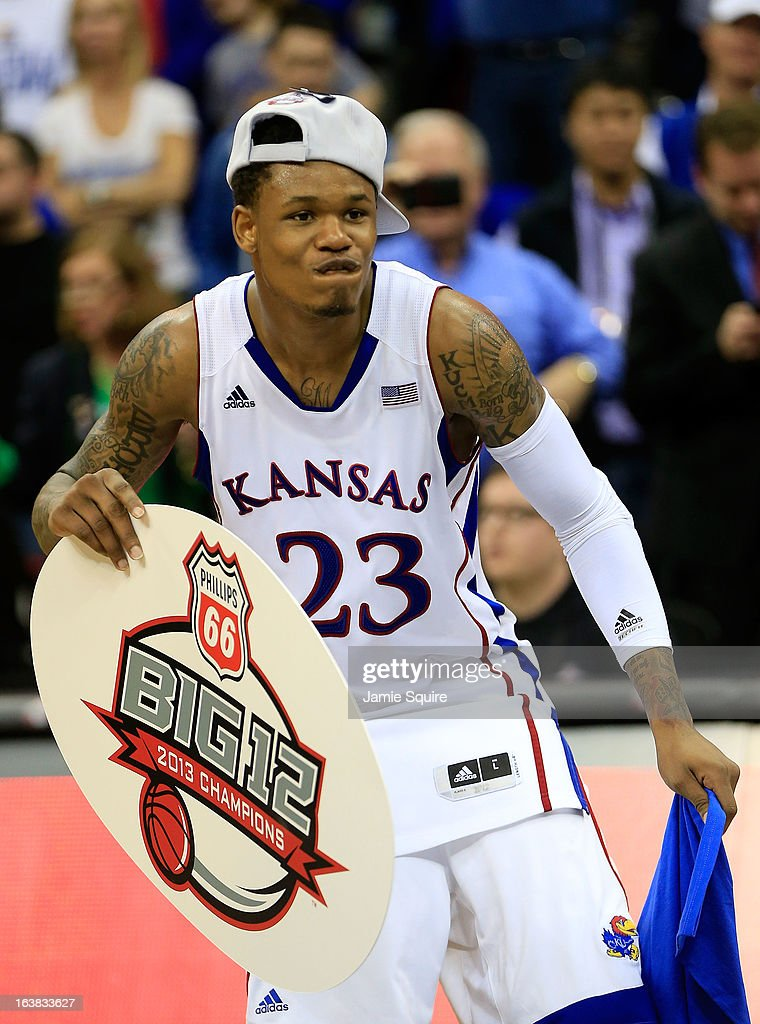 Ben McLemore #23 of the Kansas Jayhawks celebrates their 70-54 win over Kansas State Wildcats during the Final of the Big 12 basketball tournament at Sprint Center on March 16, 2013 in Kansas City, Missouri.