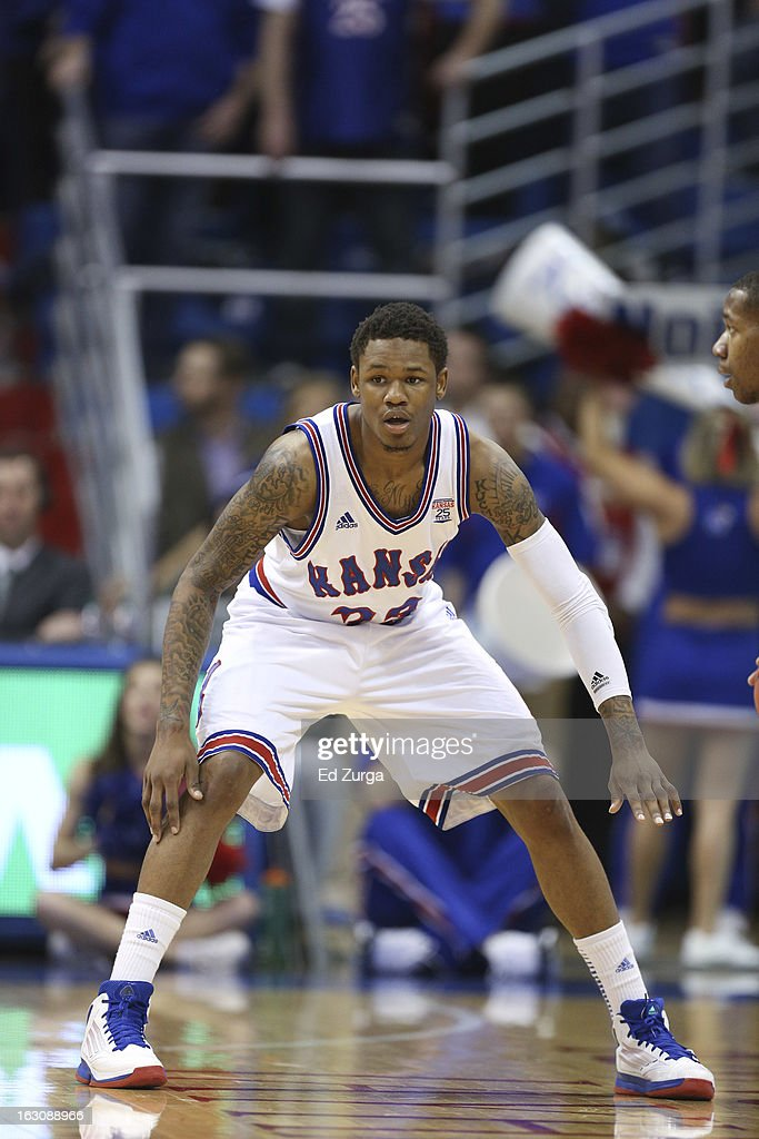 Ben McLemore #23 of the Kansas Jayhawks defends against the TCU Horned Frogs at Allen Field House on February 23, 2013 in Lawrence, Kansas.