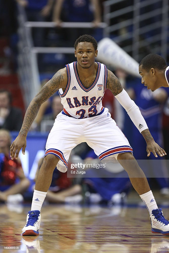 Ben McLemore #23 of the Kansas Jayhawks defends during a game against the TCU Horned Frogs at Allen Field House on February 23, 2013 in Lawrence, Kansas.