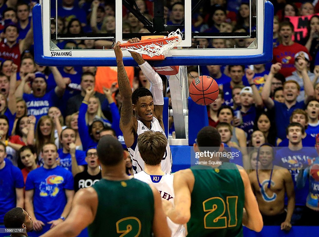 Ben McLemore #23 of the Kansas Jayhawks dunks during the game against the Baylor Bears at Allen Fieldhouse on January 14, 2013 in Lawrence, Kansas.