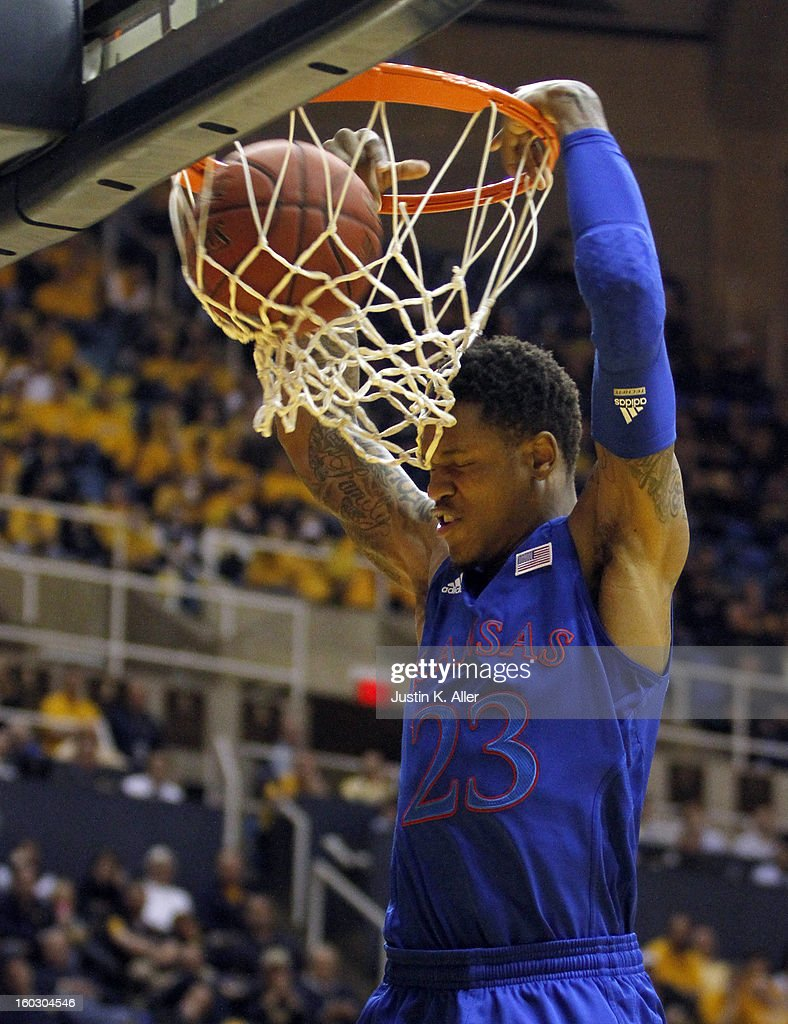 <a gi-track='captionPersonalityLinkClicked' href=/galleries/search?phrase=Ben+McLemore&family=editorial&specificpeople=9966388 ng-click='$event.stopPropagation()'>Ben McLemore</a> #23 of the Kansas Jayhawks dunks the ball against the West Virginia Mountaineers at the WVU Coliseum on January 28, 2013 in Morgantown, West Virginia.