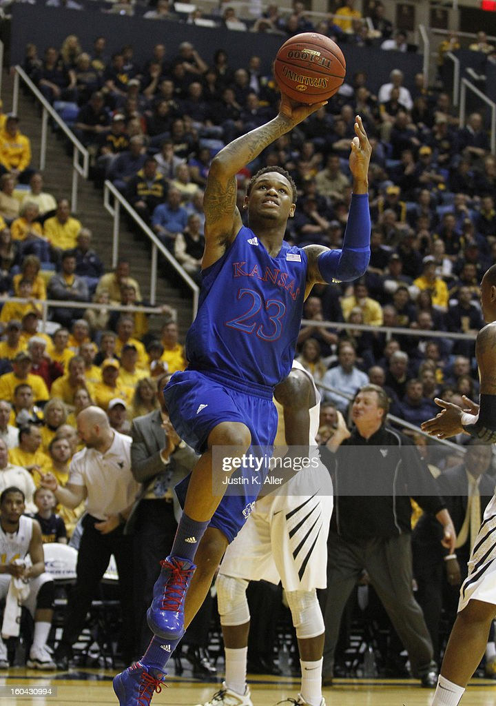 Ben McLemore #23 of the Kansas Jayhawks handles the ball against the West Virginia Mountaineers during the game at the WVU Coliseum on January 28, 2013 in Morgantown, West Virginia.