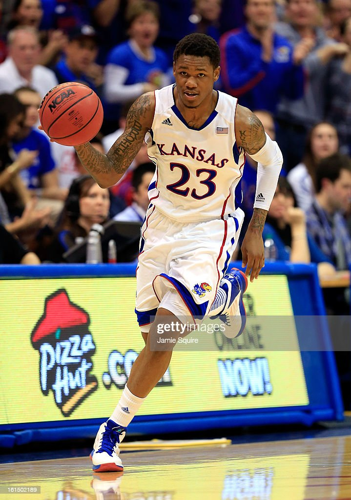 Ben McLemore #23 of the Kansas Jayhawks in action during the game against the Kansas State Wildcats at Allen Fieldhouse on February 11, 2013 in Lawrence, Kansas.