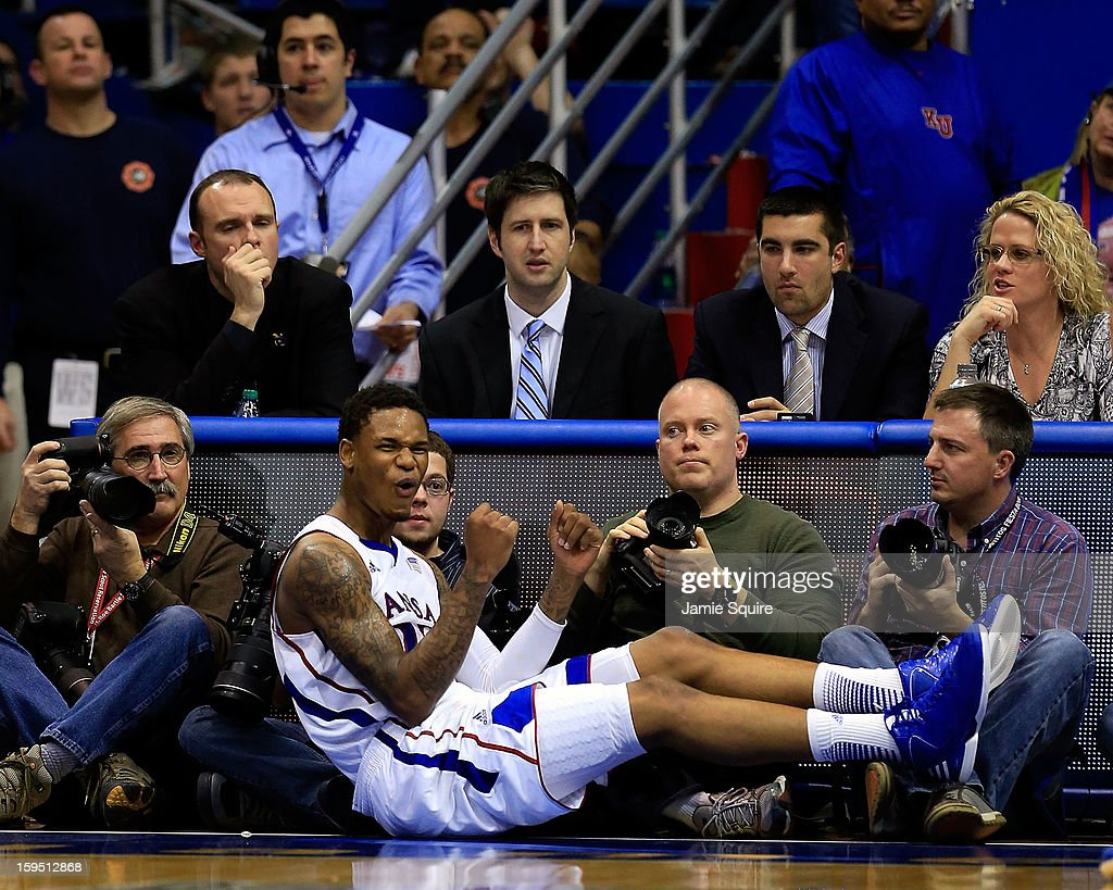 Ben McLemore #23 of the Kansas Jayhawks reacts after being fouled during the game against the Baylor Bears at Allen Fieldhouse on January 14, 2013 in Lawrence, Kansas.